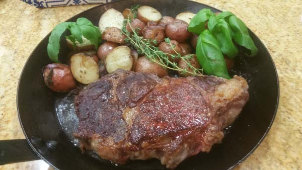 Fire Seared Ribeyes w Rosemary Butter