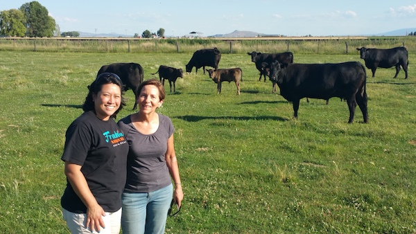 Donna and Laurie with full bloodied Wagyu and their Angus mothers