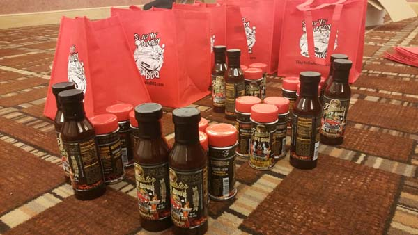 Slap Yo Daddy BBQ sauce and rubs Goodie Bags for Auction Night.