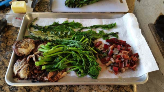 Grilling/frying vegetables (radicchio, dandelion, rhubarb, broccolini)