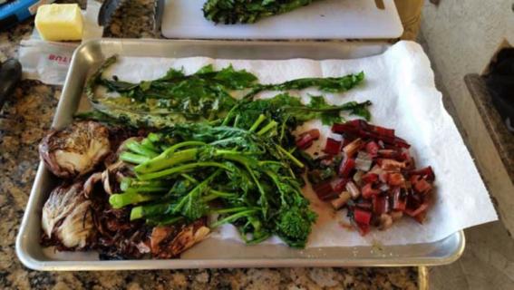 Grilling/frying vegetables (radicchio, dandelion, rhubarb, broccolini)