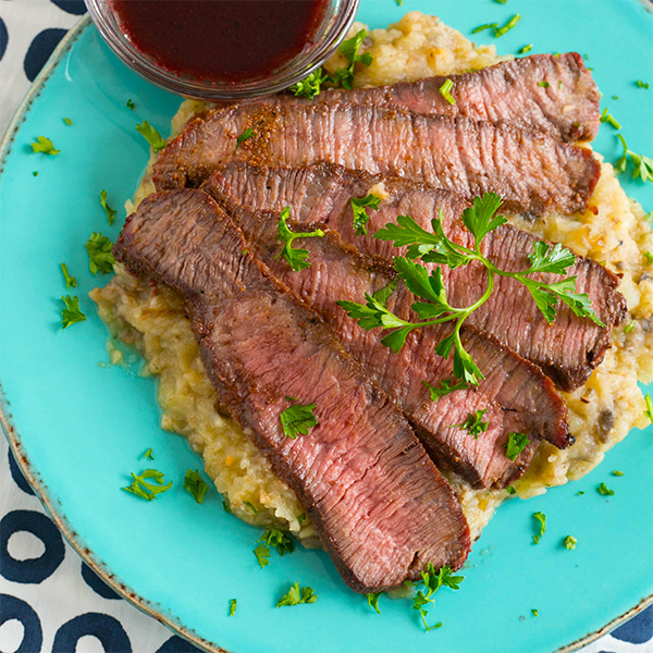 Rustic Wagyu Flat Iron Steak With Wine And Butter Sauce