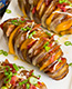 Swedish Hasselback Pit Roasted Cheesy Bacon Potatoes