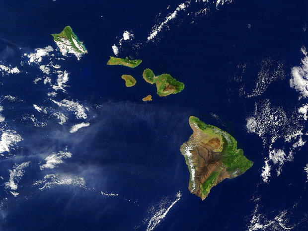Satellite picture of Hawaiian Islands