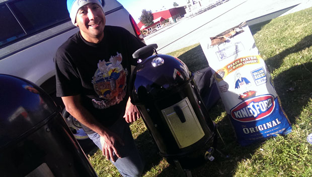 Steve Aguilar of Vicious Smoke BBQ with his new WSM-14 just released by Weber