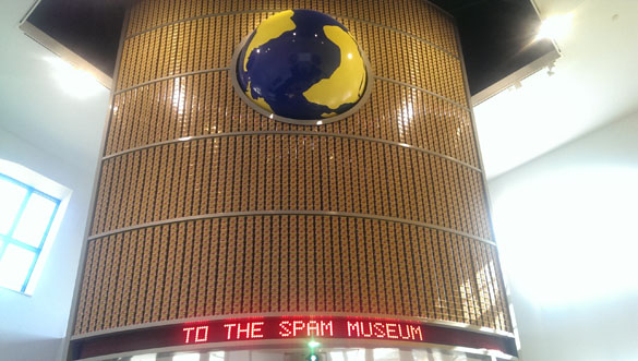 "A huge ""wall of SPAM"" greets visitors who enter the SPAM Taj Mahal"