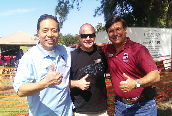 Three first time KCBS judges at the Elk Grove contest (Harry, Dennis Daniels, Mike Restivo)