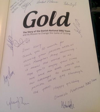 Harry received a signed cookbook by the Danish team