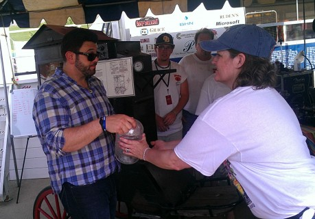 Adam Richman from Travel Channel stopped by to shoot a segment